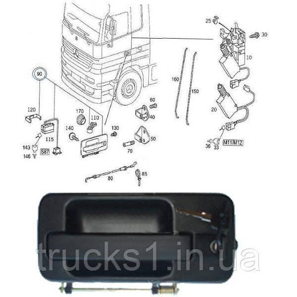 Ручка дверей кабіни Mercedes LH E-078-1LH (WOSM)