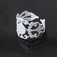 Основа для кольца Латунь, Филигранная, Цвет: Белый, Размер: Диаметр 18мм, Длина 16мм, Толщина 0.7мм, Размер Основы 8мм, (УТ100005437)