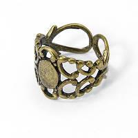 Основа для кольца Латунь, Филигранная, Цвет: Бронза, Размер: Диаметр 18мм, Основа: Длина 9мм, Ширина 7мм, (УТ100005427)