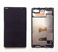 Дисплей для Nokia X2 Dual Sim (RM-1013) + touchscreen, чёрный, с передней панелью, оригинал (Китай)