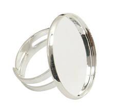 Основа для кольца Латунь, с Платформой под Кабошон, Цвет: Серебро, Размер: Диаметр 17мм, Диаметр Основы 25мм, Внутр. диаметр основы: 22.5~23мм,
