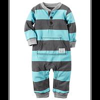 Человечек флисовый для мальчика Carters голубые полоски