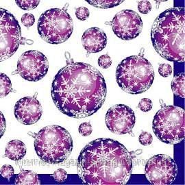 """Салфетка Silken 3-х слойная """"Новогодние шарики"""" пурпурные 20шт"""