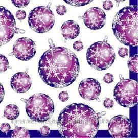 """Салфетка Silken 3-х слойная """"Новогодние шарики"""" пурпурные 20шт, фото 2"""
