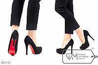 Замшевые туфли на шпильке и платформе с красной подошвой 35р