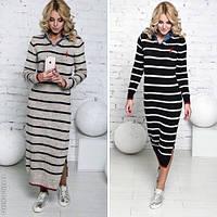 Модное женское платье с воротником / Украина / вязка