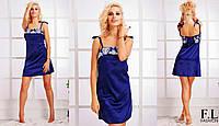 """Женская стильная ночная сорочка в больших размерах 035-1 """"Атлас Кант Орнамент"""""""