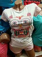 """Пижама женская футболка и шорты """"Совёнок"""", Турция, """"безумное сердце"""""""