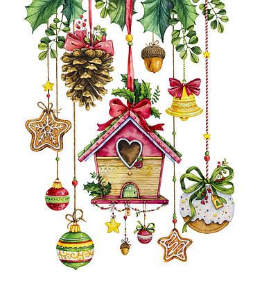 """Новогодняя салфетка Silken """"Новорічні прикраси"""" 3-сл 18шт 33*33см , фото 2"""