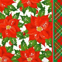 """Новогодняя салфетка Silken """"Рождественник"""" 3-сл 18шт 33*33см"""