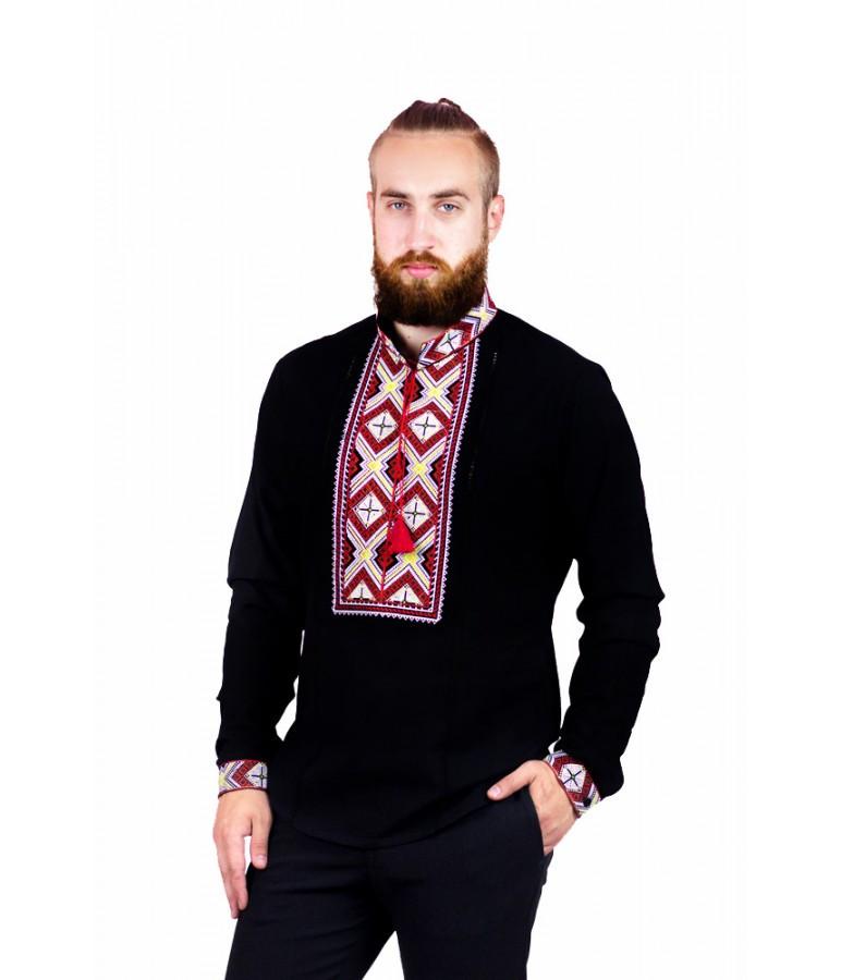 Мужская вышитая рубашка черная с красным М-422