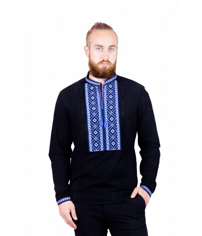 Мужская вышитая рубашка черная с синим М-423-1 56