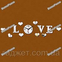 """Часы-аппликация зеркальные """"LOVE"""". Настенные часы. Часы., фото 3"""