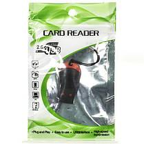 Кардридер microSD UR-117 Черный внешний переходник для карт памяти устройство считывания карт card reader, фото 3