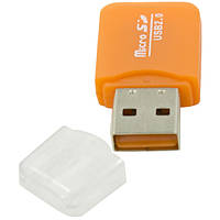 Кардридер High Speed Mini  кард-ридер USB 2.0 Micro SD мини адаптер высокое качество чтения карт оранжевый