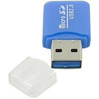 Кардридер High Speed Mini USB 2.0 MicroSD читатель мини портативный устройство для чтения карт памяти синий