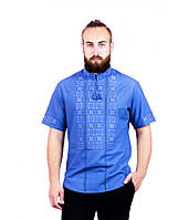 Мужская вышитая рубашка голубая крестиком с кружевом М-403-19, фото 1