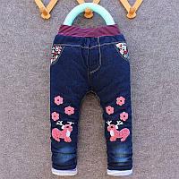 Детские утепленные штаны на девочку - Олень
