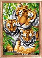 Схема для вышивки бисером Тигрица с тигрятами