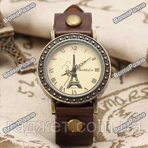 Женские часы WoMaGe с изображением Эйфелевой башни коричневого цвета, фото 2