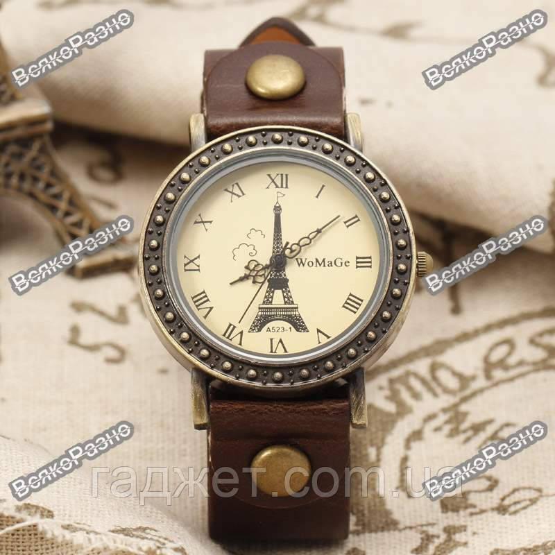 Женские часы WoMaGe с изображением Эйфелевой башни коричневого цвета