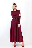 """Приталенное трикотажное макси-платье """"Джерси"""" с поясом и длинным рукавом (3 цвета)"""