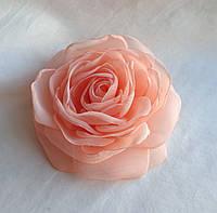 """Брошь из ткани ручной работы """"Персиковая роза"""""""