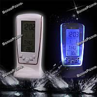 Настольные часы-будильник с календарем и термометром, с синей подсветкой