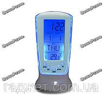 Настольные часы-будильник с календарем и термометром, с синей подсветкой, фото 3