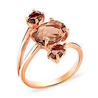 """Кольцо """"Триединство"""" Необыкновенно красивое кольцо из золота 585 пробы. Нестандартный дизайн этого кольца со вставками из дымчатого кварца делает это"""