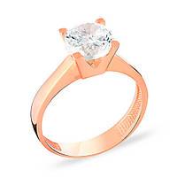 Золотое помолвочное кольцо с роскошным фианитом бриллиантовой огранки