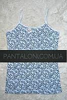 Майка XL нательная женская хлопковая пр-во Donella Турция голубая с черным узором