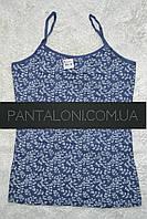 Майка XL нательная женская хлопковая пр-во Donella Турция синяя с белым узором