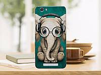Чехлы для ZTE Blade A610 с рисунком Слон в наушниках и очках
