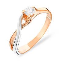 140487  Золотое кольцо с фианитом.  Изысканный вариант золотого кольца, как символа любви.  В комбинации доминирует красное золото 585 пробы, ободок д