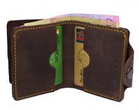 """Чоловічий шкіряний гаманець мужской кожаный кошелек, бумажни """"Х2"""" ручної роботи, натуральна шкіра, на кнопці"""