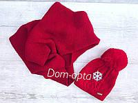 Комплект вязаный шапка и снуд красный