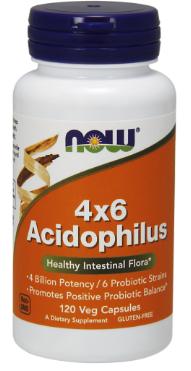 Ацидофілус, Now Foods, Acidophilus 4 X 6 Powder, 120 Caps
