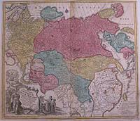 Антикварная карта Великой России, Картограф: Лоттер, 1757 год