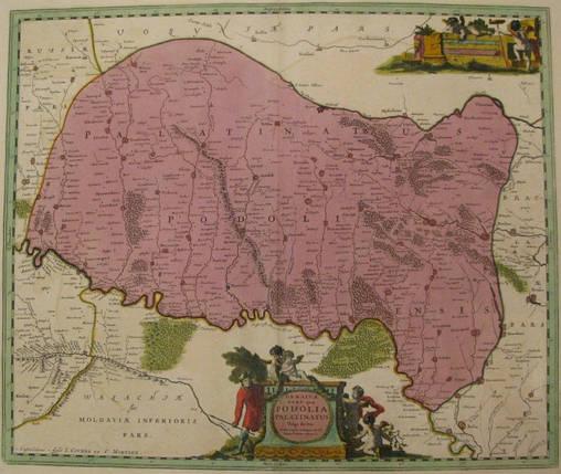 Антикварная карта Подолии  Украина. Картограф: Гийом Ле Вассер де Боплан 1720 год, фото 2