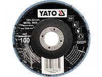 YATO Круг з наждачних пелюстків випуклий ZIRCONIIA ALUMINIUM OXIDE INOX К 100, Ø= 125/22,4 мм