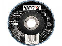 YATO Круг з наждачних пелюстків випуклий ZIRCONIIA ALUMINIUM OXIDE INOX К 120, Ø= 125/22,4 мм (DW)