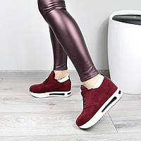 Кроссовки женские Love на шнурках бордо , спортивная обувь