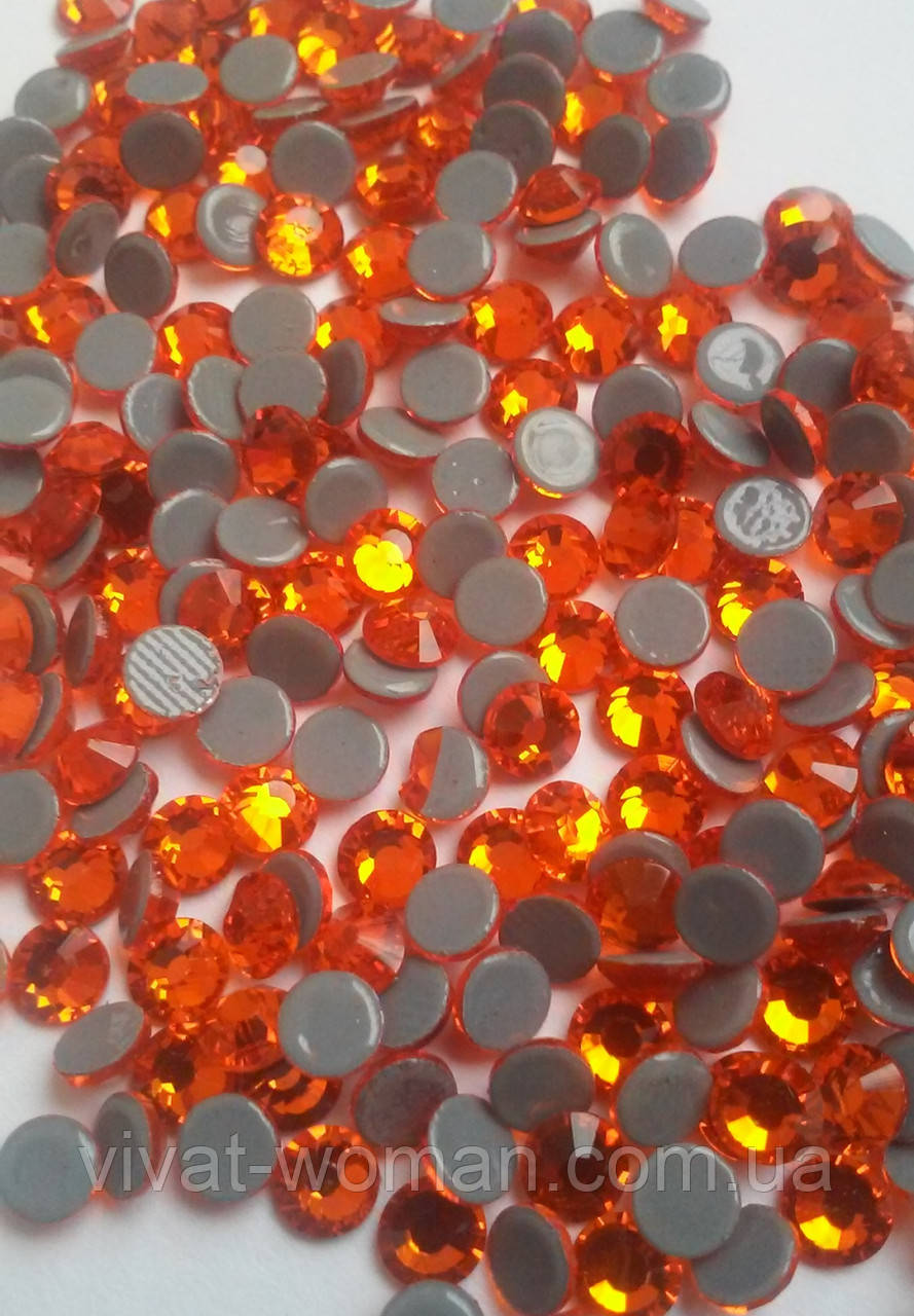 Стразы А+ Premium, Sun/Orange (оранжевый) SS16 (3,8-4,0 мм) термоклеевые. Цена за 144 шт.