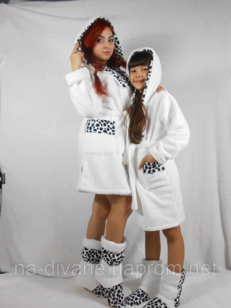 Набор халат махровый с сапожками для мамы мама-дочка 42- 012 - Женская, a262717eb32