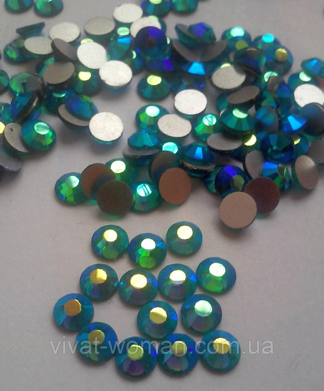 Стразы Blue Zircon AB (сине-зеленый) SS16 холодной фиксации. Цена за 144 шт