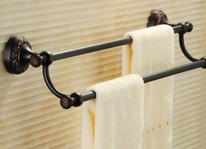 Вешалка для полотенец на кухню или в ванную комнату настенная двухуровневая черная