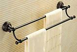 Вешалка для полотенец на кухню или в ванную комнату настенная двухуровневая черная, фото 2