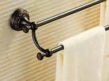 Вешалка для полотенец на кухню или в ванную комнату настенная двухуровневая черная, фото 3