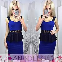 Красивое платье с баской в расцветках